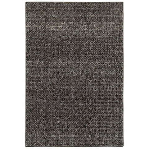 Oriental Weavers Atlas Black Grey Geometric Distressed Casual Rug