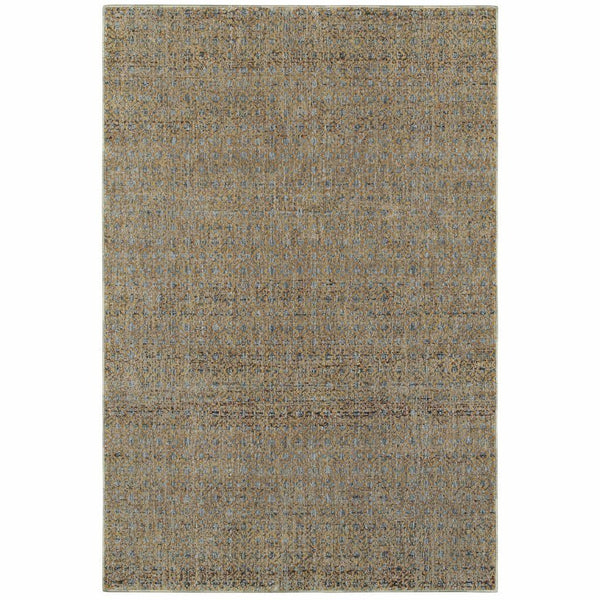 Atlas Blue Gold Geometric Distressed Casual Rug - Free Shipping