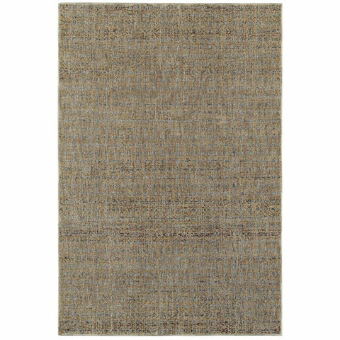 Atlas Blue Gold Geometric Distressed Casual Rug