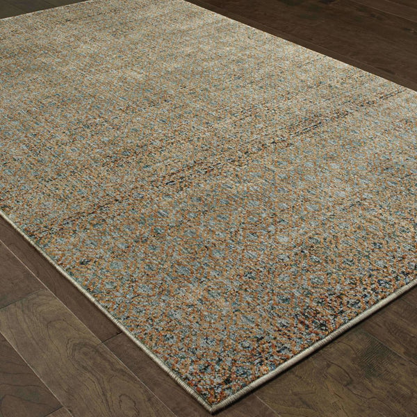 Woven - Atlas Blue Gold Geometric Distressed Casual Rug