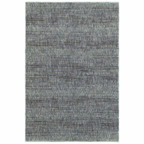 Oriental Weavers Atlas Blue Grey Solid Distressed Casual Rug