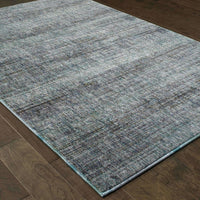 Woven - Atlas Blue Grey Solid Distressed Casual Rug