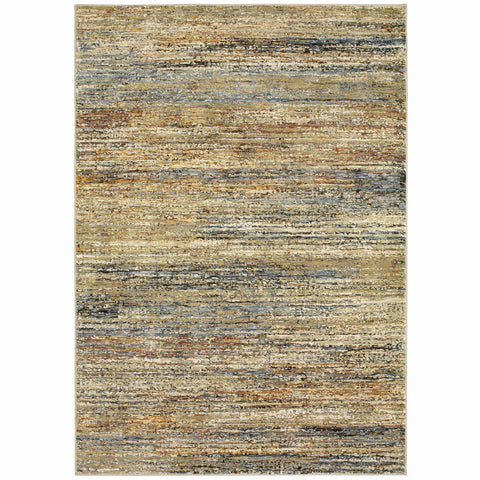 Oriental Weavers Atlas Gold Green Abstract Distressed Casual Rug