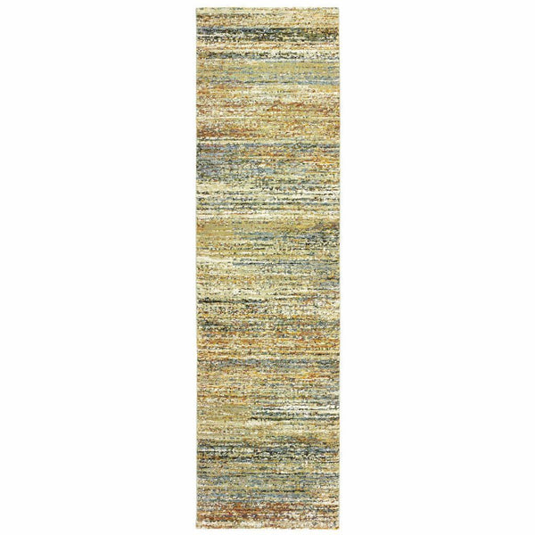 Woven - Atlas Gold Green Abstract Distressed Casual Rug