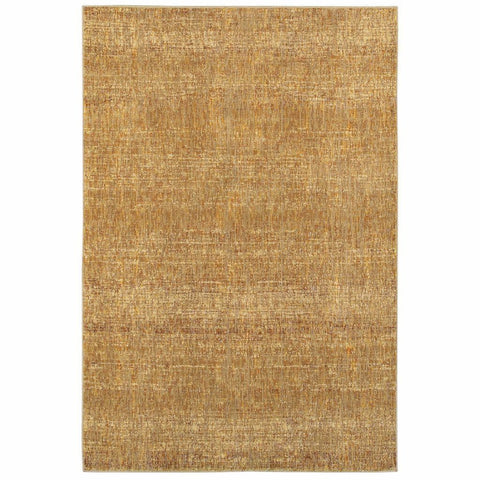 Atlas Gold Yellow Solid Distressed Casual Rug