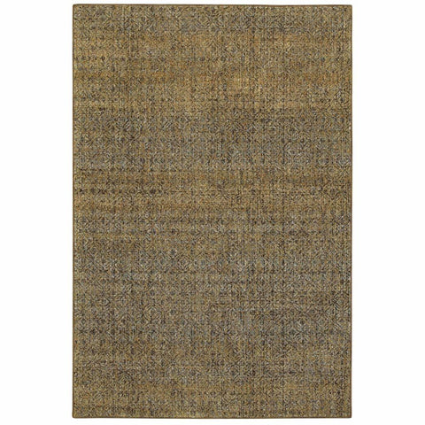 Oriental Weavers Atlas Green Gold Geometric Distressed Casual Rug