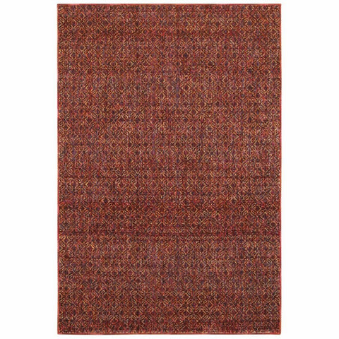 Atlas Red Rust Geometric Distressed Casual Rug