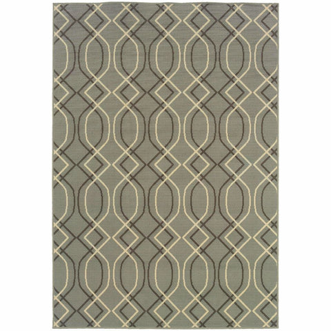 Bali Blue Grey Geometric Lattice Outdoor Rug