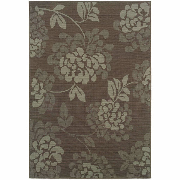 Bali Grey Blue Floral  Outdoor Rug - Free Shipping