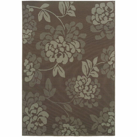 Bali Grey Blue Floral  Outdoor Rug