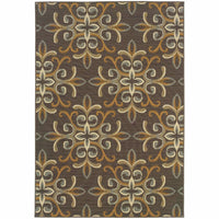 Bali Grey Gold Floral  Outdoor Rug - Free Shipping