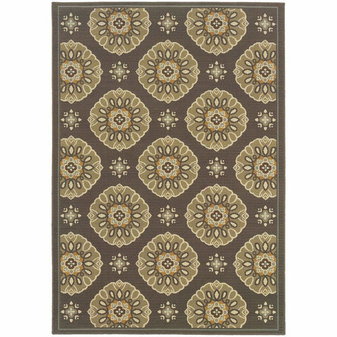 Bali Grey Gold Floral  Outdoor Rug