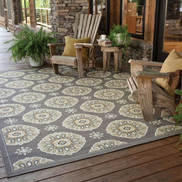 Woven - Bali Grey Gold Floral  Outdoor Rug