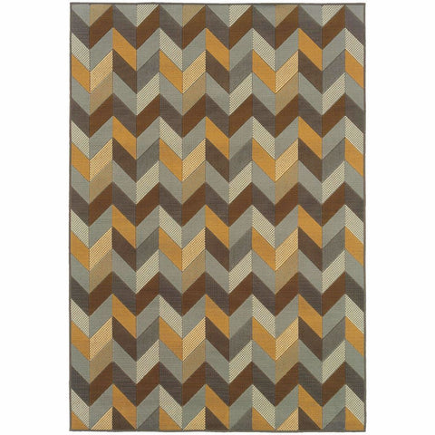 Bali Grey Gold Geometric Chevron Outdoor Rug