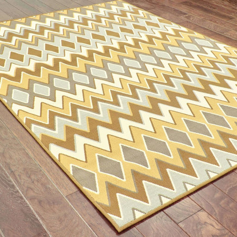 Oriental Weavers Bali Grey Gold Geometric Chevron Outdoor Rug