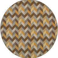 Woven - Bali Grey Gold Geometric Chevron Outdoor Rug