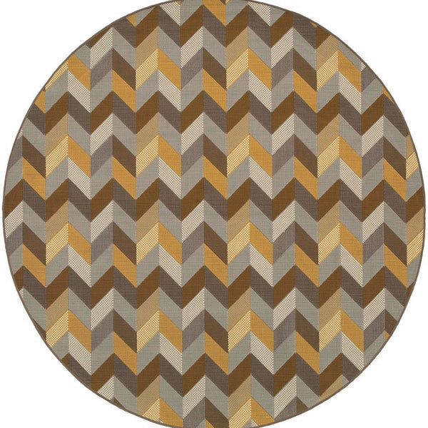 Bali Grey Gold Geometric Chevron Outdoor Rug - Free Shipping