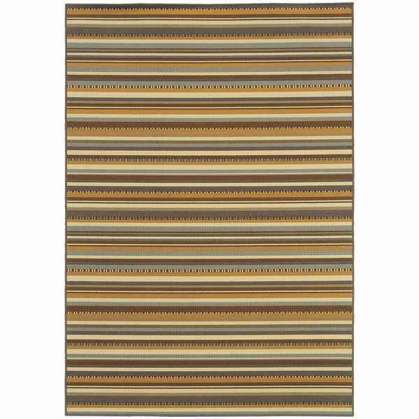 Bali Grey Gold Stripe  Outdoor Rug - Free Shipping