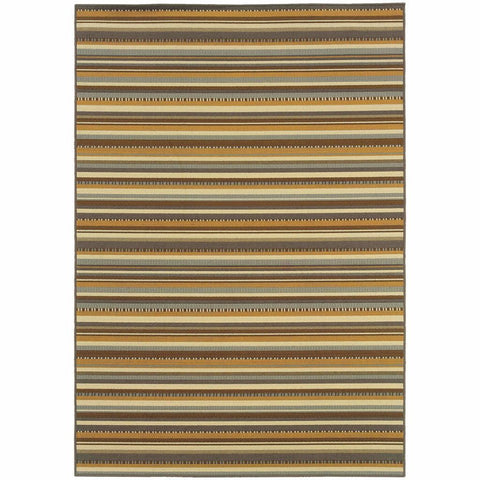 Bali Grey Gold Stripe  Outdoor Rug