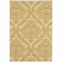 Bali Ivory Gold Floral  Outdoor Rug - Free Shipping