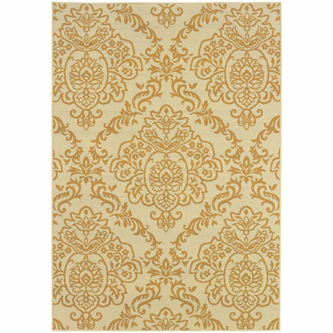 Bali Ivory Gold Floral  Outdoor Rug