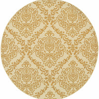 Woven - Bali Ivory Gold Floral  Outdoor Rug