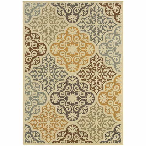 Bali Ivory Grey Floral  Outdoor Rug