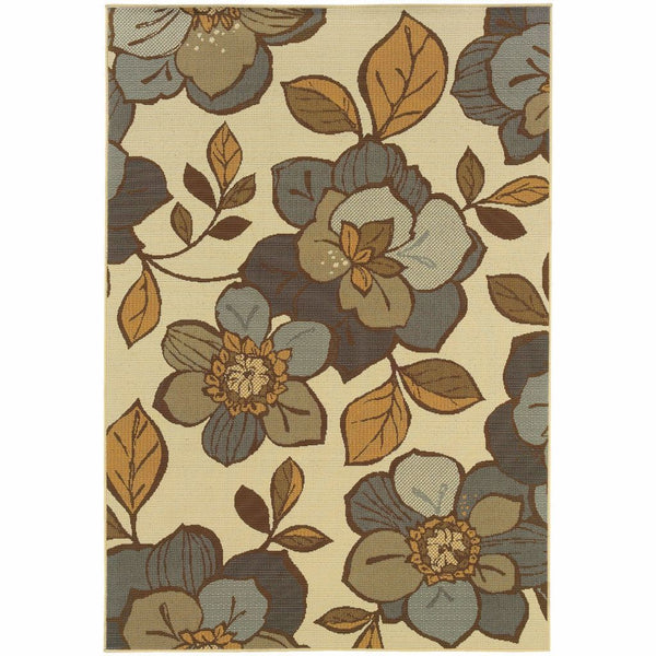Bali Ivory Grey Floral  Outdoor Rug - Free Shipping