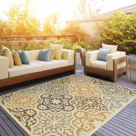 Oriental Weavers Bali Ivory Grey Floral  Outdoor Rug