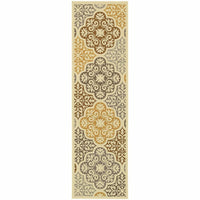 Woven - Bali Ivory Grey Floral  Outdoor Rug