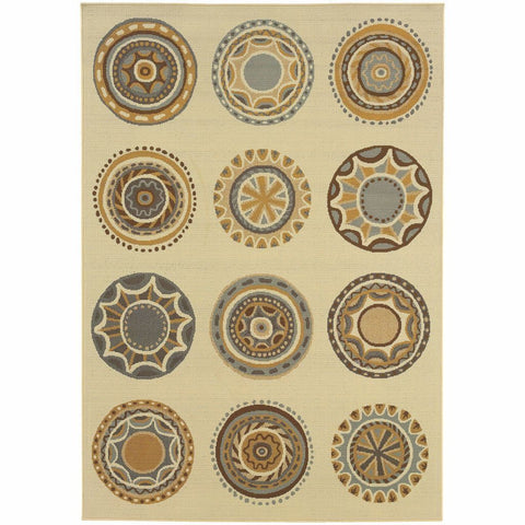 Bali Ivory Grey Geometric Medallions Outdoor Rug