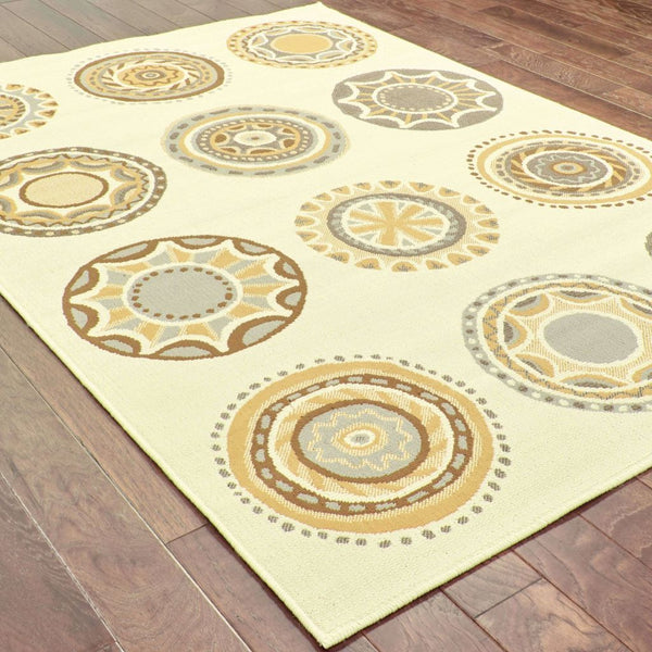 Woven - Bali Ivory Grey Geometric Medallions Outdoor Rug