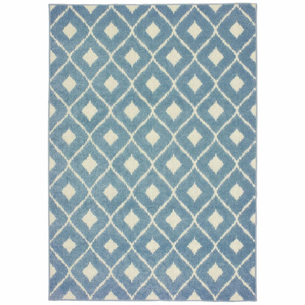 Barbados Blue Ivory Geometric Lattice Casual Rug - Free Shipping