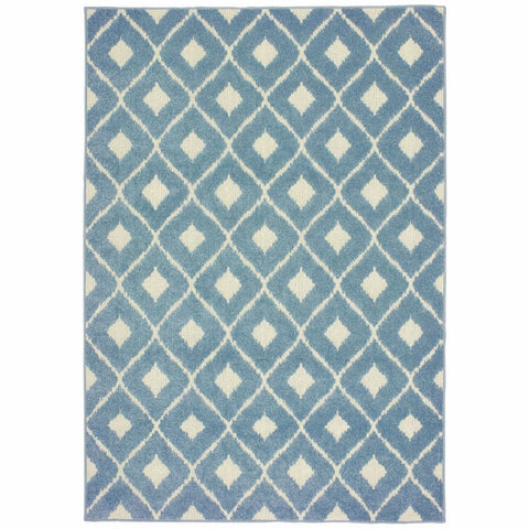 Oriental Weavers Barbados Blue Ivory Geometric Lattice Casual Rug