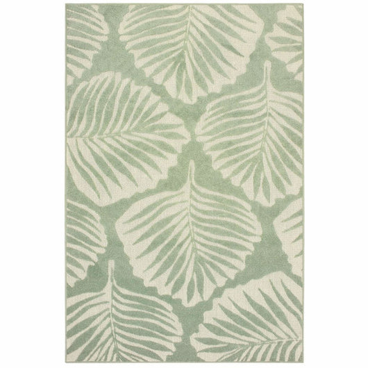 Woven - Barbados Green Ivory Floral Botanical Casual Rug