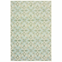 Barbados Ivory Green Floral Trefoil Casual Rug - Free Shipping