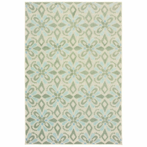 Oriental Weavers Barbados Ivory Green Floral Trefoil Casual Rug