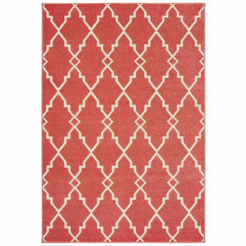 Oriental Weavers Barbados Pink Ivory Geometric Lattice Casual Rug