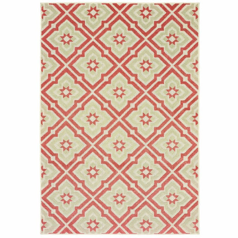 Barbados Pink Ivory Geometric Trefoil Casual Rug