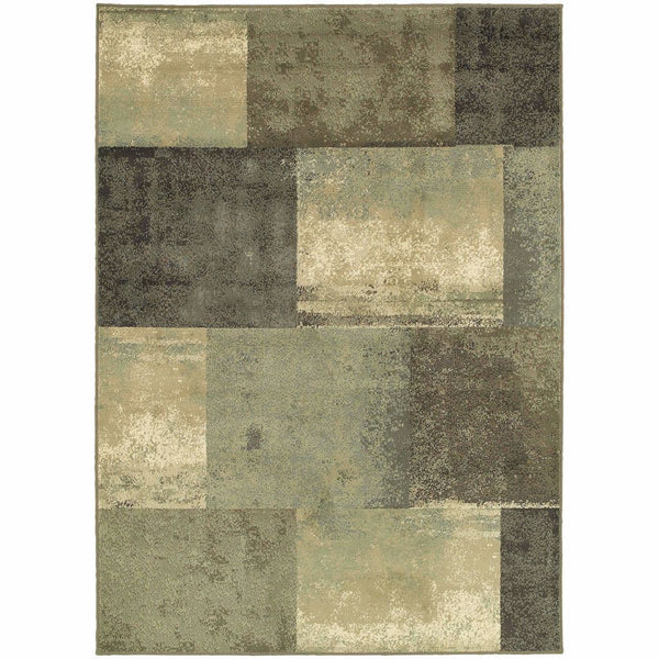Brentwood Brown Green Geometric Block Transitional Rug - Free Shipping