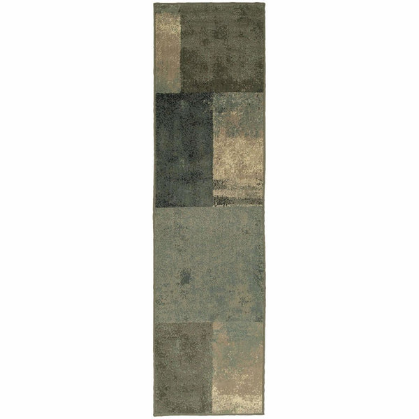 Woven - Brentwood Brown Green Geometric Block Transitional Rug
