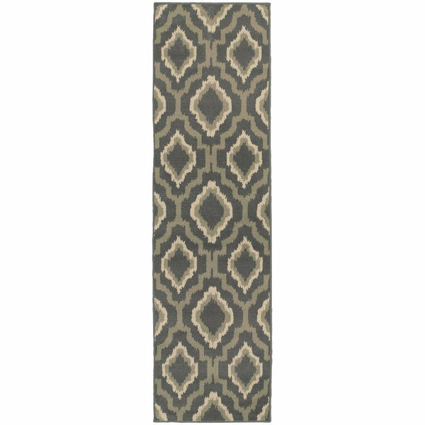Woven - Brentwood Charcoal Grey Geometric Ikat Transitional Rug
