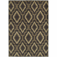 Brentwood Charcoal Taupe Geometric Ikat Transitional Rug - Free Shipping