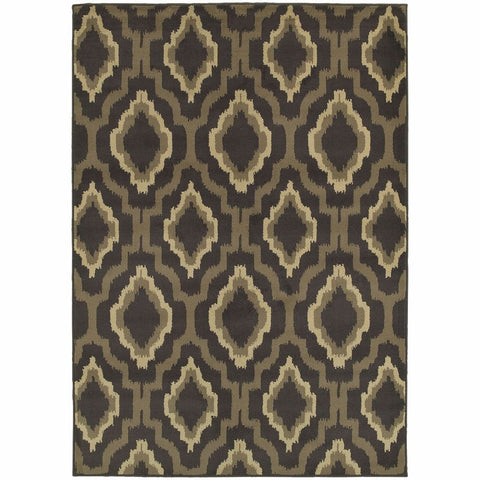 Oriental Weavers Brentwood Charcoal Taupe Geometric Ikat Transitional Rug