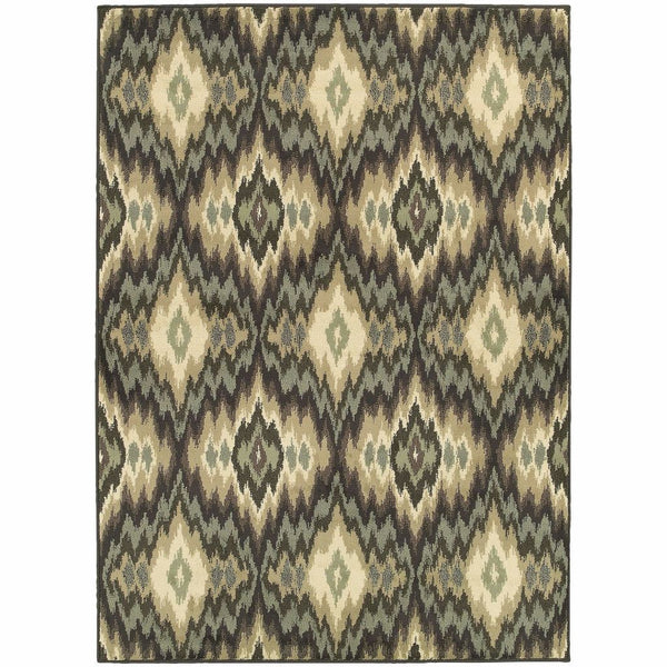 Brentwood Ivory Blue Abstract Ikat Transitional Rug - Free Shipping