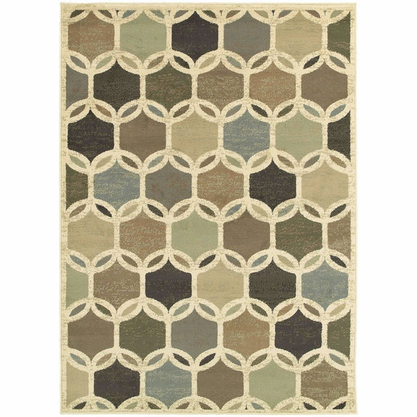 Brentwood Ivory Multi Geometric Circles Transitional Rug - Free Shipping