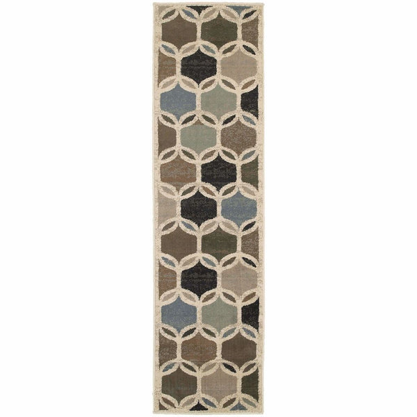 Woven - Brentwood Ivory Multi Geometric Circles Transitional Rug