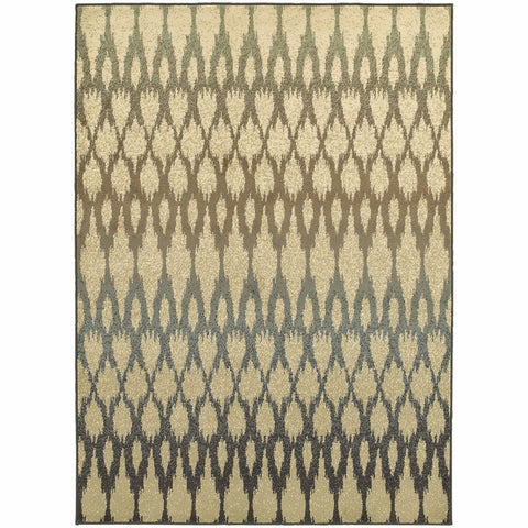 Brentwood Ivory Multi Geometric Ikat Transitional Rug