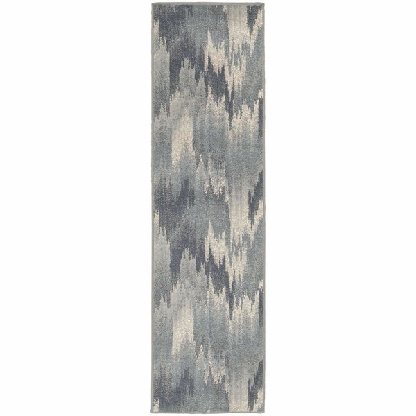 Woven - Brentwood Multi Blue Abstract Ikat Transitional Rug