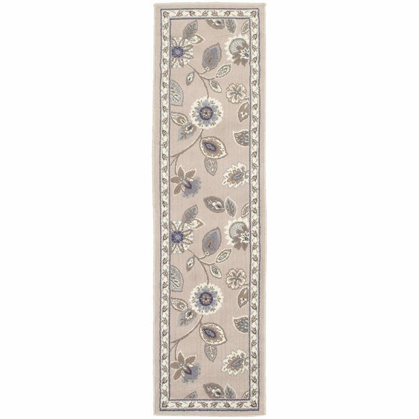 Woven - Brentwood Stone Blue Floral  Traditional Rug